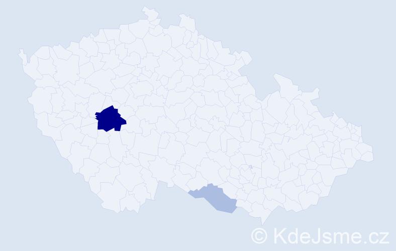 Příjmení: 'Jobek', počet výskytů 7 v celé ČR