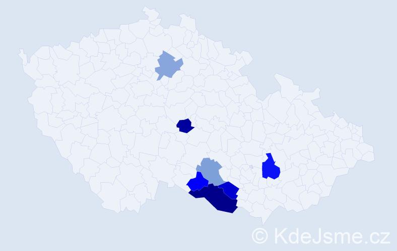 Příjmení: 'Dunkelová', počet výskytů 11 v celé ČR