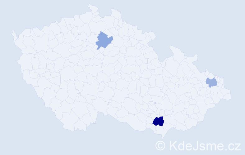 Příjmení: 'Cuová', počet výskytů 5 v celé ČR