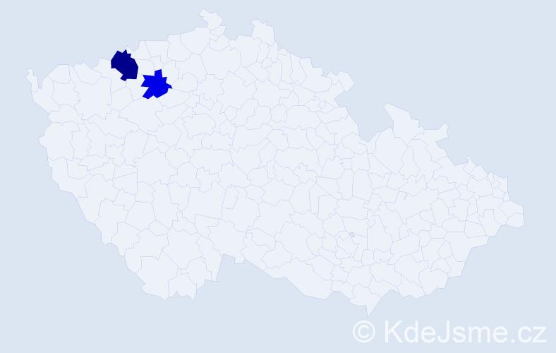 """Příjmení: '""""Čoka Teruová""""', počet výskytů 3 v celé ČR"""