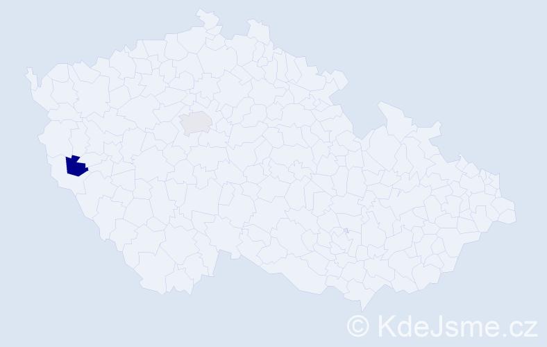 Příjmení: 'Barnó', počet výskytů 2 v celé ČR