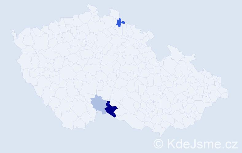 Příjmení: 'Ihnatišínová', počet výskytů 6 v celé ČR