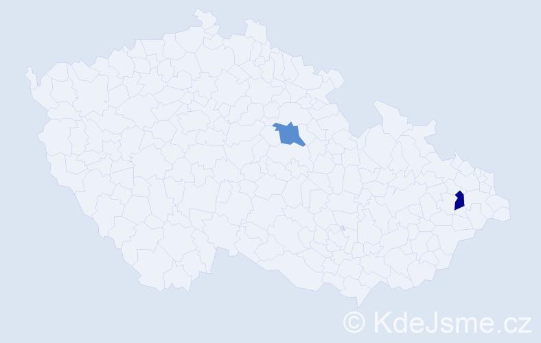 Příjmení: 'Jezdínská', počet výskytů 2 v celé ČR