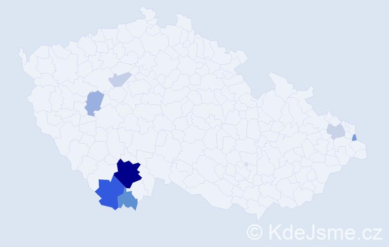 Příjmení: 'Jindrle', počet výskytů 22 v celé ČR