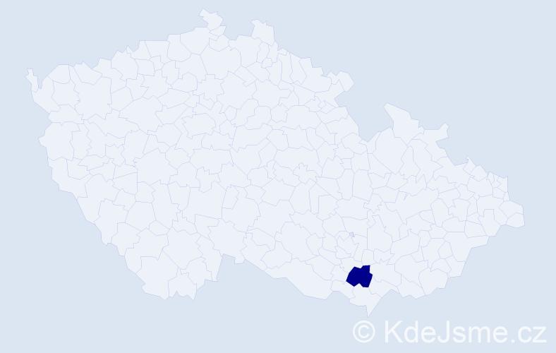 """Příjmení: '""""Babáčková Růžičková""""', počet výskytů 1 v celé ČR"""