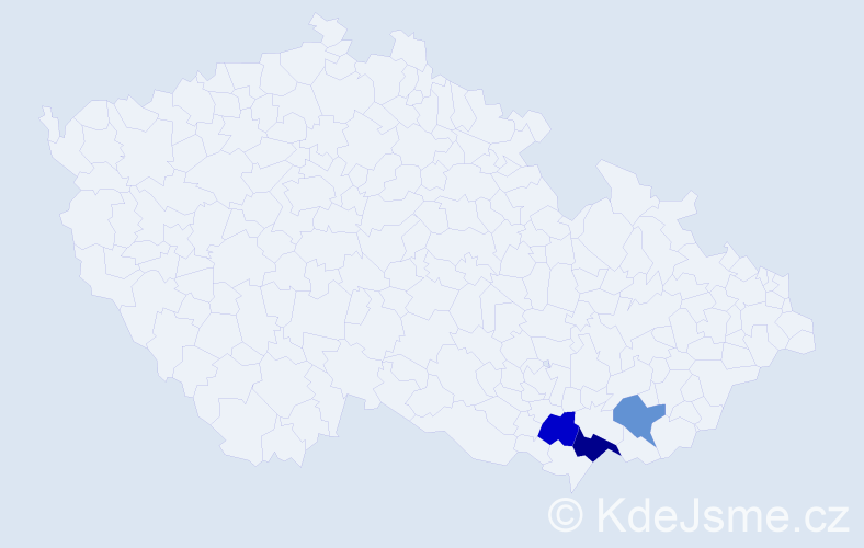 Příjmení: 'Láng', počet výskytů 4 v celé ČR