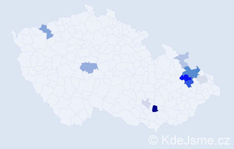 Příjmení: 'Essler', počet výskytů 27 v celé ČR