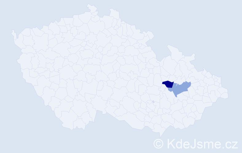 """Příjmení: '""""De Larenotiére Kriegsfeld""""', počet výskytů 2 v celé ČR"""