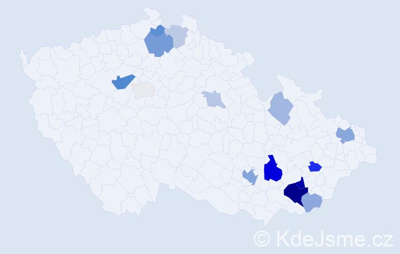 Příjmení: 'Lanšperková', počet výskytů 36 v celé ČR