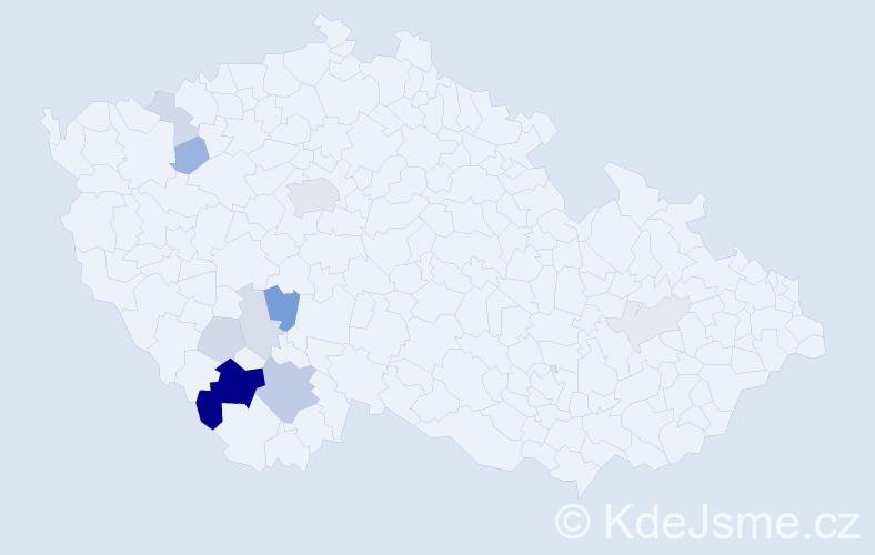 Příjmení: 'Capůrka', počet výskytů 29 v celé ČR