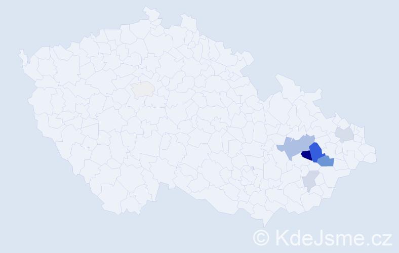 Příjmení: 'Červeková', počet výskytů 17 v celé ČR