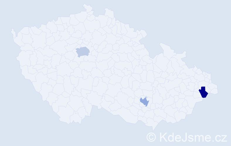 Příjmení: 'Kana', počet výskytů 6 v celé ČR