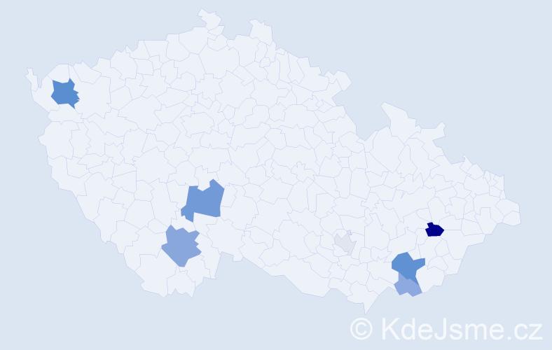 Příjmení: 'Grňák', počet výskytů 18 v celé ČR