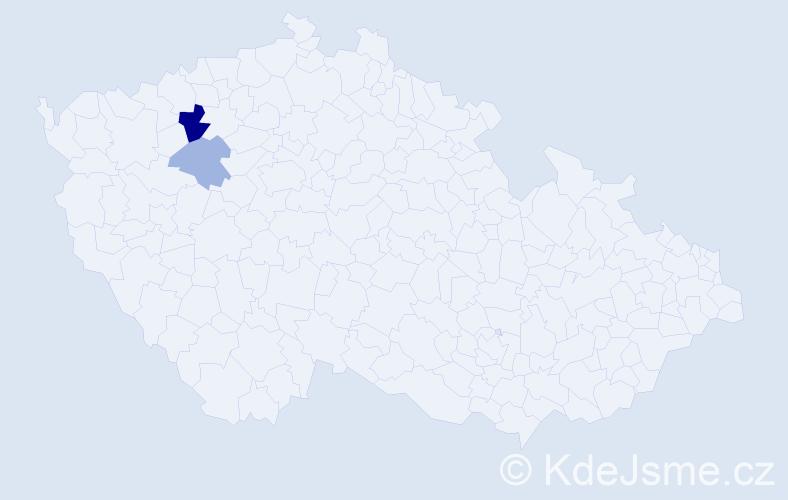 Příjmení: 'Hrončová', počet výskytů 4 v celé ČR