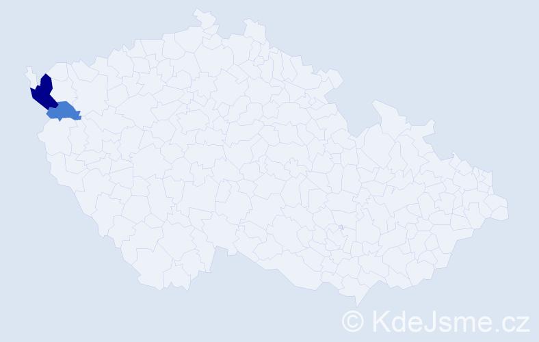 Příjmení: 'Červenicky', počet výskytů 5 v celé ČR