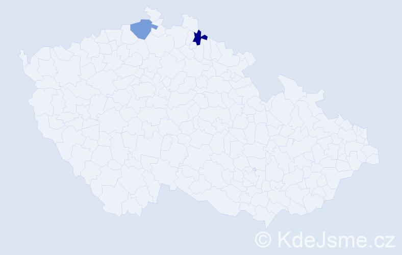 Příjmení: 'Cvanetová', počet výskytů 2 v celé ČR