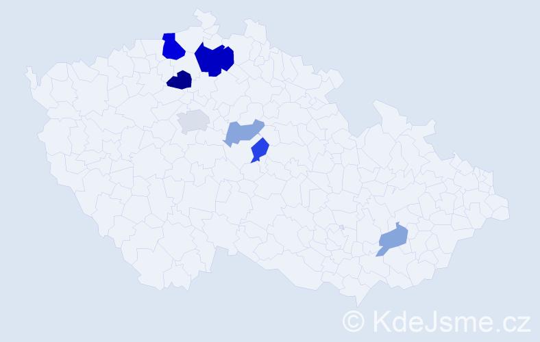 Příjmení: 'Česnohlídková', počet výskytů 16 v celé ČR