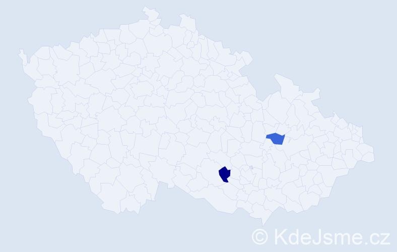Příjmení: 'Ďebnárová', počet výskytů 2 v celé ČR
