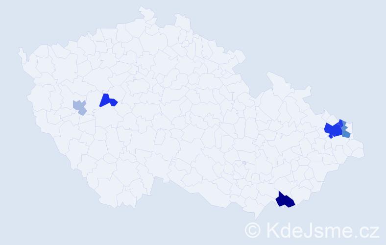 Příjmení: 'Kondiolka', počet výskytů 15 v celé ČR