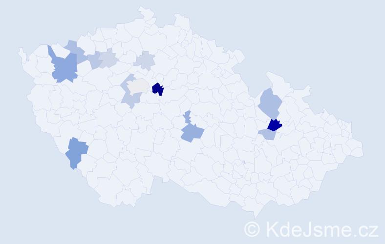 Příjmení: 'Cinegrová', počet výskytů 38 v celé ČR