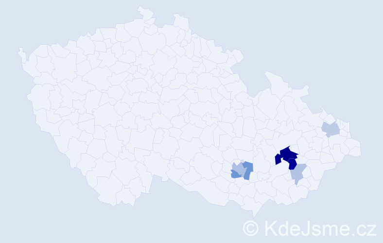 Příjmení: 'Chodníčková', počet výskytů 17 v celé ČR