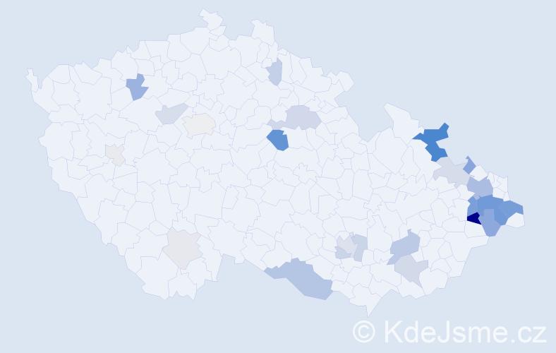 Příjmení: 'Kalmus', počet výskytů 90 v celé ČR