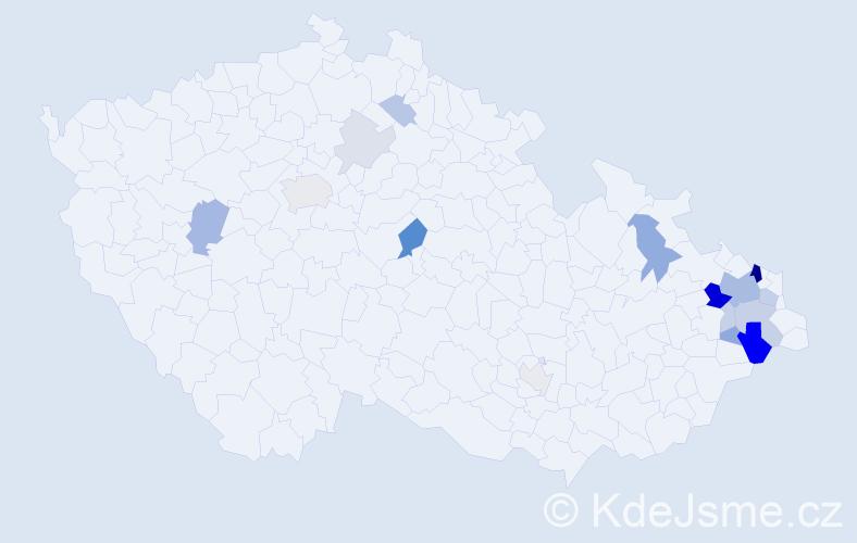 Příjmení: 'Dluhá', počet výskytů 46 v celé ČR