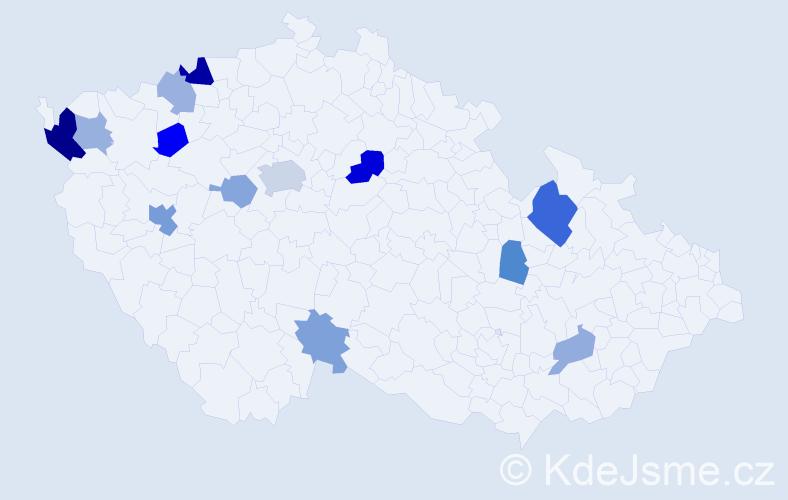 Příjmení: 'Gožová', počet výskytů 26 v celé ČR