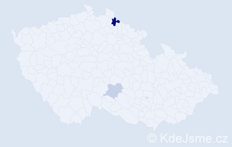 Příjmení: 'Ďurek', počet výskytů 4 v celé ČR