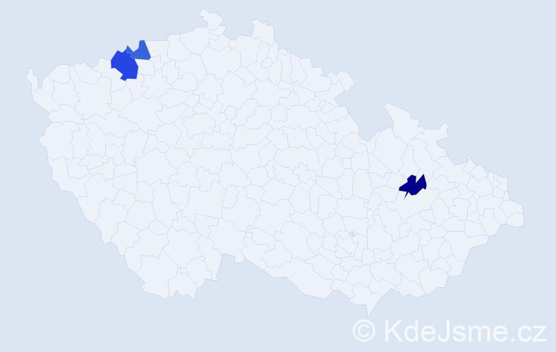 Příjmení: 'Čekajský', počet výskytů 4 v celé ČR