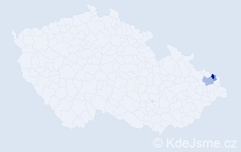 Příjmení: 'Čuřidlová', počet výskytů 5 v celé ČR