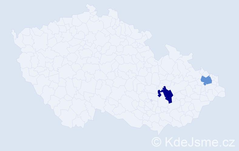 Příjmení: 'Dubíková', počet výskytů 4 v celé ČR