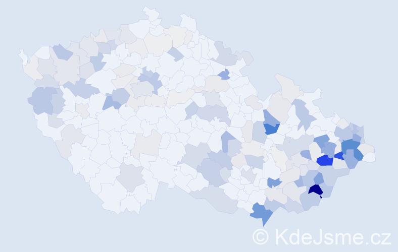 Příjmení: 'Bača', počet výskytů 639 v celé ČR