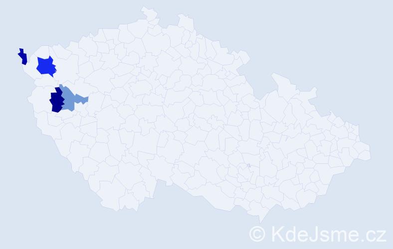 Příjmení: 'Hakeľová', počet výskytů 6 v celé ČR