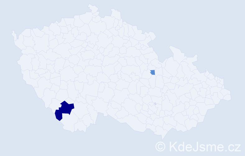 Příjmení: 'Csejtey', počet výskytů 5 v celé ČR