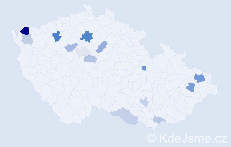 Příjmení: 'Gombík', počet výskytů 32 v celé ČR