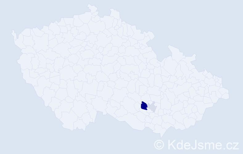 Příjmení: 'Lajkébová', počet výskytů 3 v celé ČR