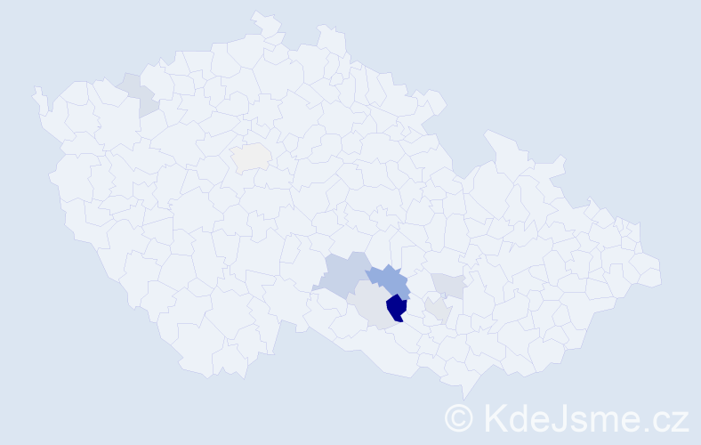 Příjmení: 'Hedeja', počet výskytů 19 v celé ČR