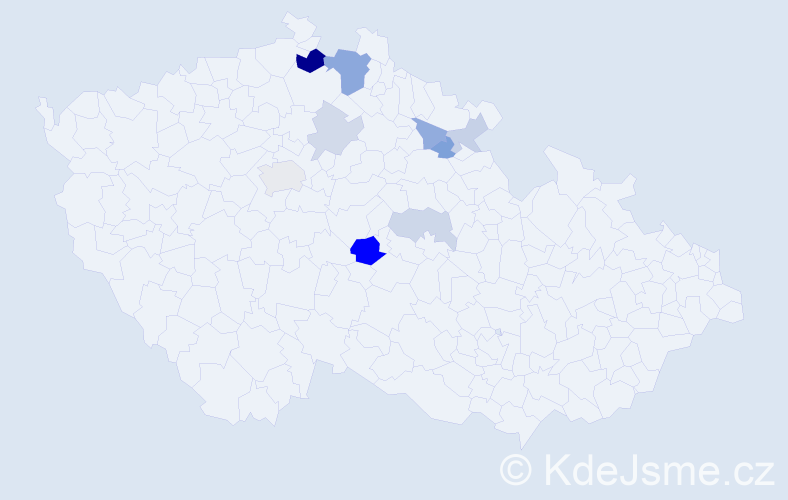 Příjmení: 'Černohub', počet výskytů 19 v celé ČR