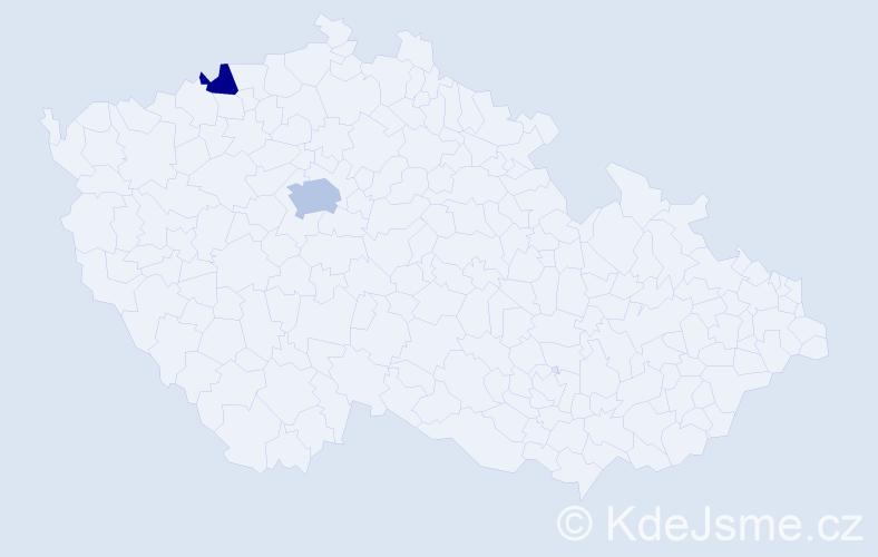 Příjmení: 'Dermendžievová', počet výskytů 3 v celé ČR