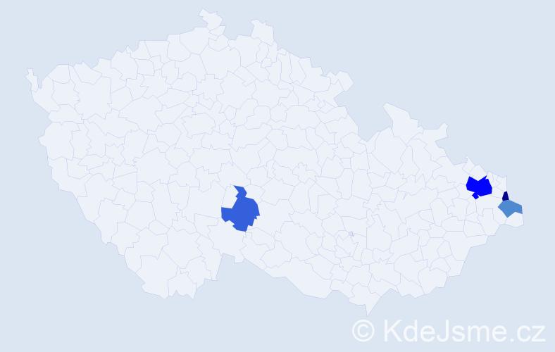 Příjmení: 'Hučala', počet výskytů 9 v celé ČR