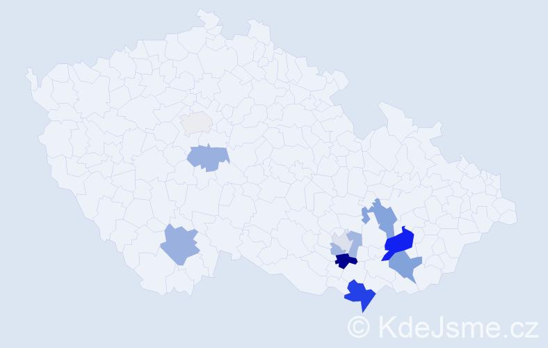 Příjmení: 'Barouš', počet výskytů 22 v celé ČR
