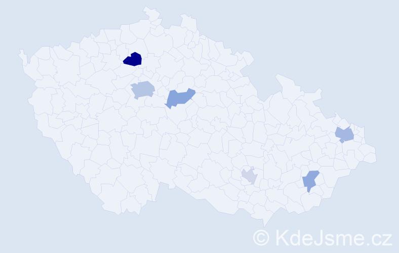 Příjmení: 'Czakó', počet výskytů 12 v celé ČR