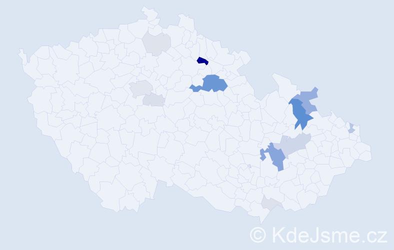 Příjmení: 'Entner', počet výskytů 51 v celé ČR