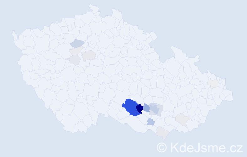 Příjmení: 'Cabejšková', počet výskytů 76 v celé ČR