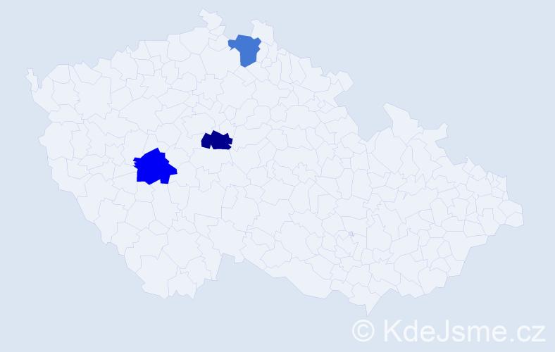 Příjmení: 'Čebra', počet výskytů 3 v celé ČR