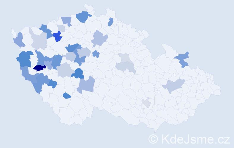 Příjmení: 'Hergetová', počet výskytů 86 v celé ČR