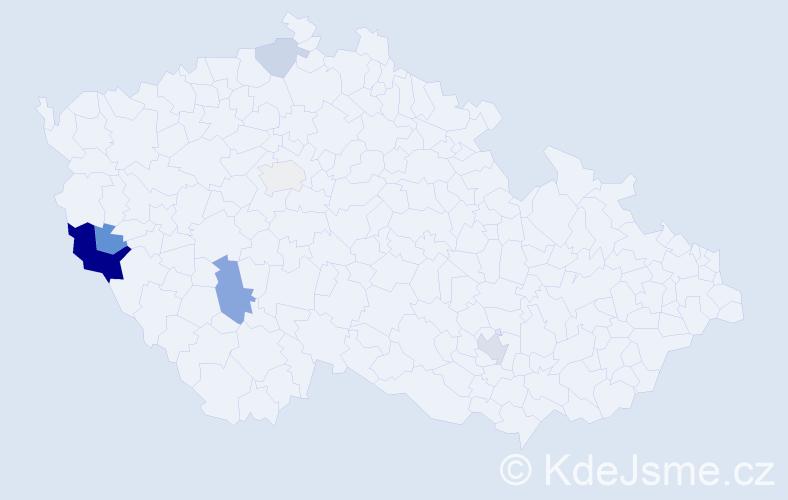 Příjmení: 'Karolyi', počet výskytů 14 v celé ČR