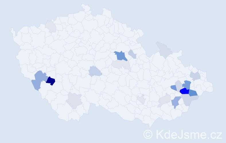 Příjmení: 'Čáň', počet výskytů 77 v celé ČR