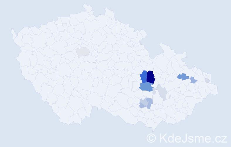 Příjmení: 'Dlábková', počet výskytů 29 v celé ČR